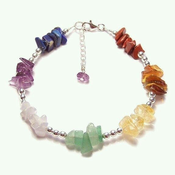 semi-precious gem chips and silver bracelet