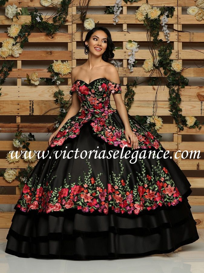 b478ce880e Mikado Charro dress w embroidered appliques throughout the bodice   skirt  of the dress  lace-up back