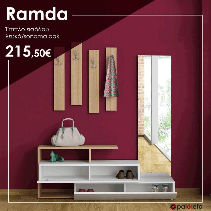 Είσοδος... που κερδίζει τις εντυπώσεις! Έπιπλο εισόδου Ramda σε λευκό/Sonoma χρώμα, εξαιρετικής ποιότητας και σε super τιμή. Θα το βρεις εδώ https://www.pakketo.com/entrance-furniture-ramda-white-sonoma-oak-colour-137x35x154cm