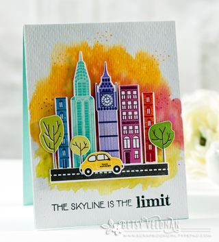 City Scene Revisited: The Skyline Is The Limit Card by Betsy Veldman for Papertrey Ink (May 2016)