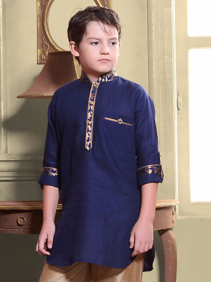 G3 Exclusive Cotton Plain Blue Boys Short Pathani