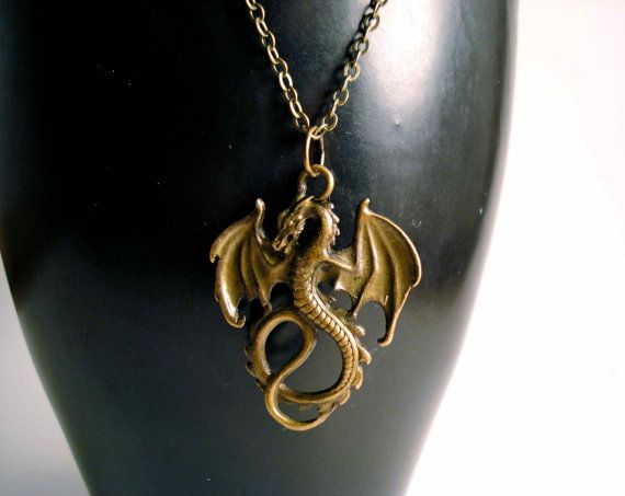 Winged Serpentine Dragon Necklace, Antiqued Bronze Dragon Jewelry, Long Brass Necklace, Dragon Pendant on Antique Brass Necklace Chain