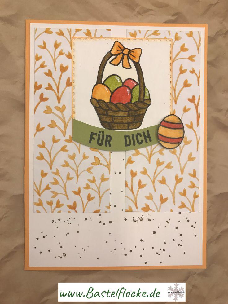 www.bastelflocke.de - Für die Match the Sketch Challenge habe ich diesmal ein Osterkörbchen ins Rennen geschickt. Mehr dazu gibt es auf meinem Blog unter www.bastelflocke.de #Matchthesketch #Ostern #Osterkörbchen #körbchen #pfirsichpur #flüsterweiß #Designerpapier #obstgarten #stempel #lawnfawn #karte #wildleder #farngrün #melonensorbet #fürdich #saleabration #AusfreudigemAnlass #Sprenkel  #StampinUp #GorgeousGrunge