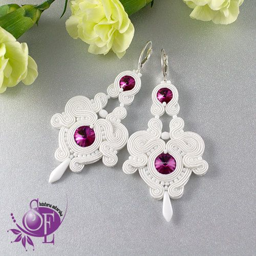 Earrings wedding white fuchsia by SzkatulkaEmi on Etsy