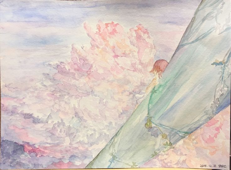 """""""How she feels at the sky?""""(2015),watercolor. I came up with if I go to the sky and then see everywhere.There can be blue sky and blue sea.But I want to feel """"warm"""". So I painted the cloud pink and purple color. And the idea is also motivated by """"Jack and the bean stalk"""".If you are go to the sky, how you feel about that situation?:-)"""