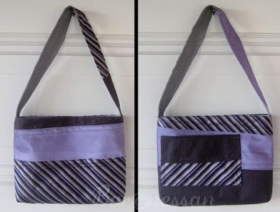Väska gjord av slipsar. Bag made from neck ties.