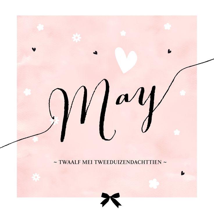 Lief kaartje geboorte meisje met bloemetjes, hartjes en watercolour. De mooie typografie / kalligrafie laat de naam extra goed opvallen!