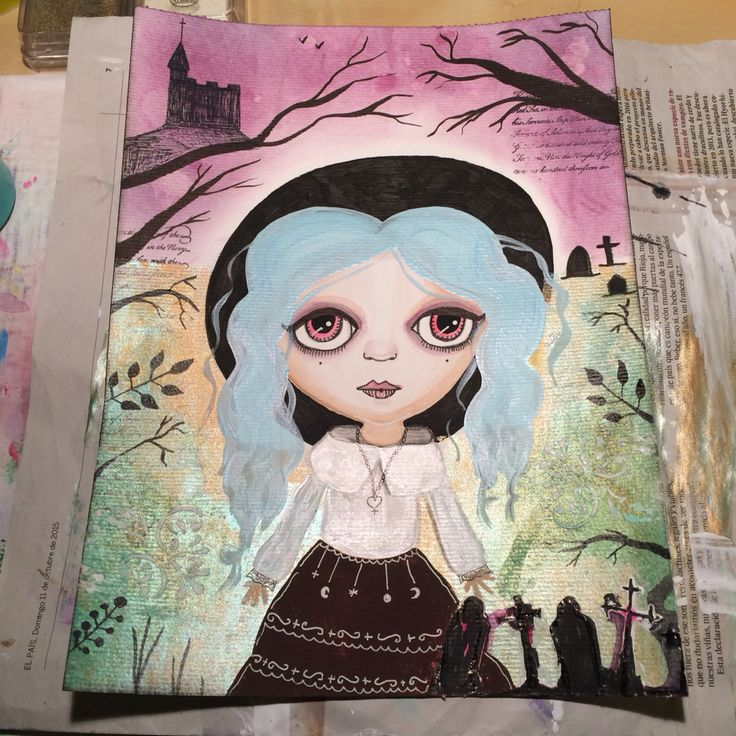 Art journal spread: the Cemetery by Licesbury