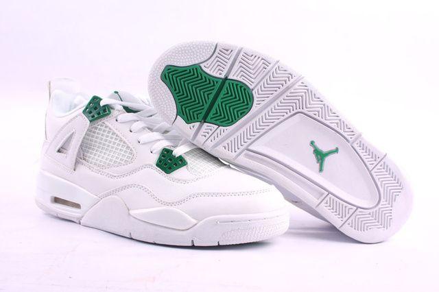Nike Air Jordan 4 White Green Mens Retro Shoes QBvzN9G