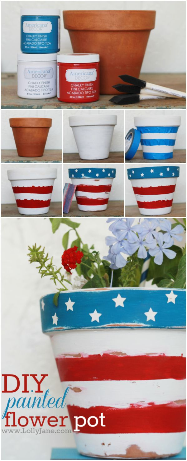 Stars + stripes patriotic flower pot. So cute for 4th of July!