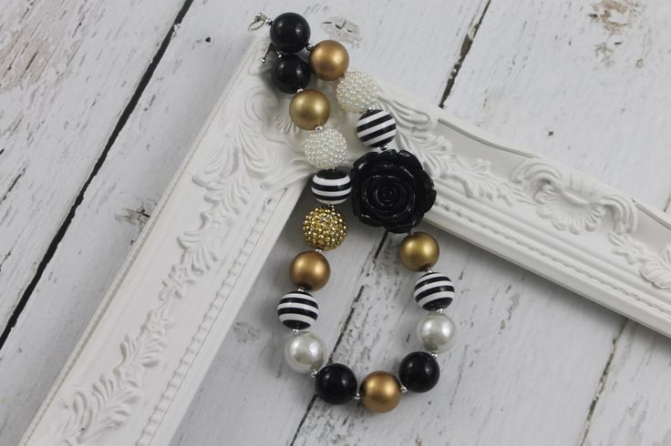 Black Gold Girls Chunky Necklace  Bubble Gum Necklace Chunky Bead Necklace Toddler Chunky Necklace Little Baby Girls Chunky Necklace by LisaAnnsCreations on Etsy https://www.etsy.com/listing/492794989/black-gold-girls-chunky-necklace-bubble