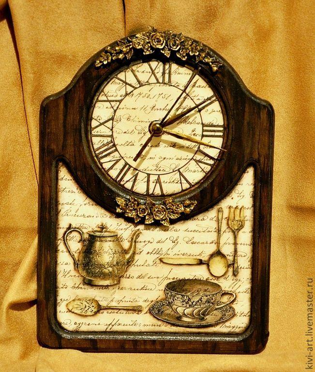 """Купить Часы """" Винтаж """" - коричневый, часы, настенные часы, настольные часы, винтаж"""