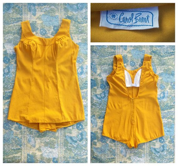 Vintage 50s 60s Carol Brent swimsuit in gold mustard, ruched bust, hourglass, busty, back zipper, one-piece by dahlilafound, $80.00