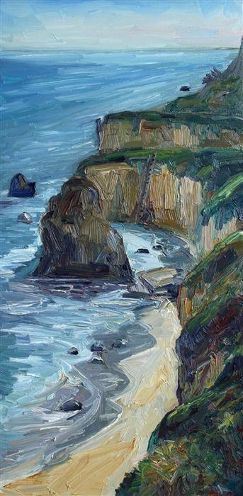 Original art for sale at UGallery.com | Matador Beach Vertical by John Kilduff | oil painting | 36' h x 18' w