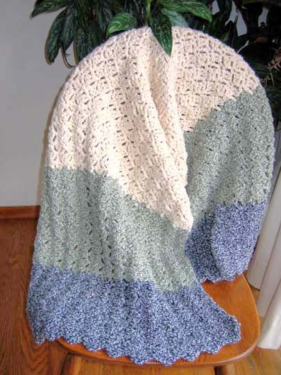 free prayer shawl crochet pattern | Cozy Comfort Prayer Shawl Denimstyle on chair fill