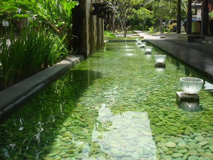 Bali inspired water feature with Stone Pebbles