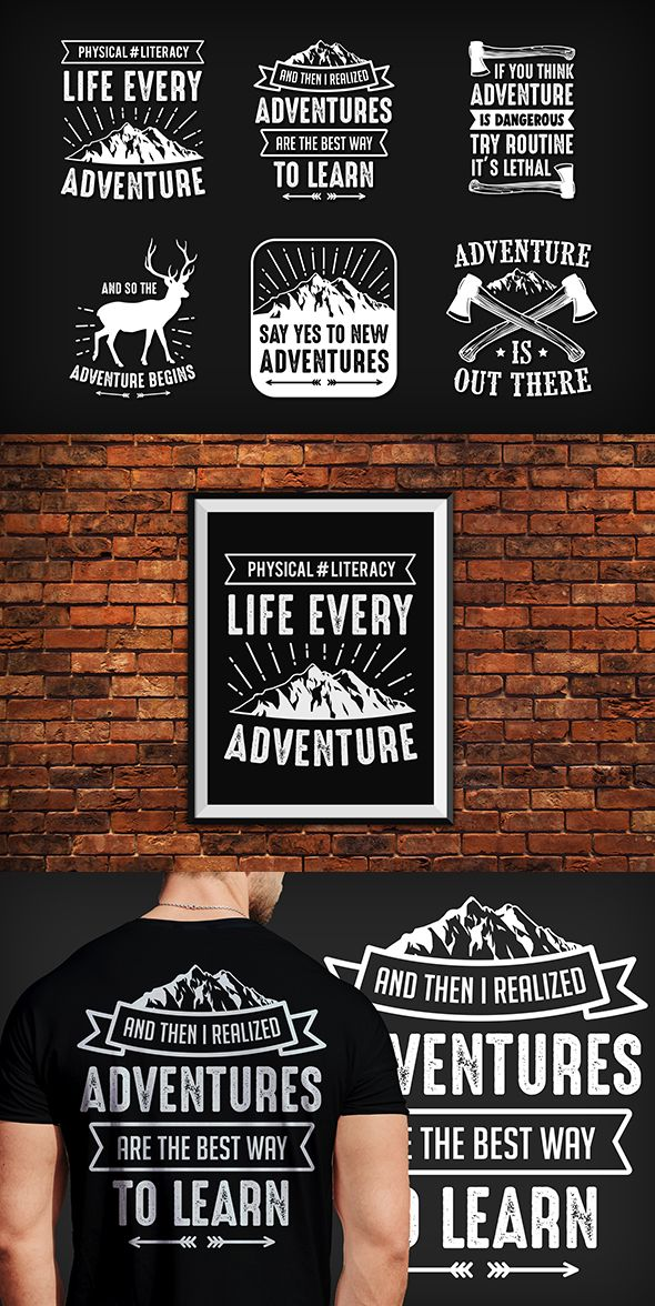 #tshirtdesign #vintage #adventure 6 Saying & Quote T-Shirt Design is created in adobe illustrator and suitable for your company, clothing design and many more. Excellent design, vintage style, good looking and high quality.  Features:  Black and White Versions 100% Vector & Resizable, 100% Text is editable, Only free font used, Color is easily changed Includes:  Editable EPS File Jpeg files Help file (info Font links included in it)