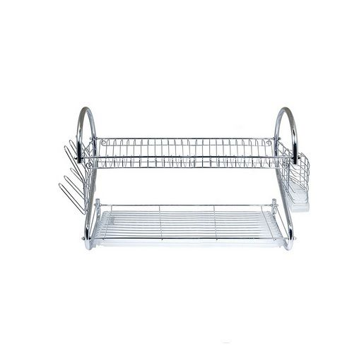 Dish Drainer Rack Kitchen Drying Holder Organizer Tray Dryer Cutlery Sink Storage This Dish Drainer Rack, which is two (2) tiered rack, features sturdy construction & space saving design. This kitchen drying holder with Chrome plated steel & heavy duty plastic with very easy to clean removable tray & flatware holder. Use the top tier for dishes, bottom tier for saucers, cups, bowls etc, side rack for glasses & flatware holder for flatware. Ideal for any home, camper, dorm or RV. Sturdy…