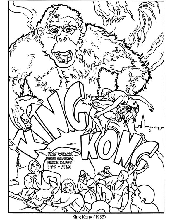 King Kong Color Your Own Poster Dover Publications A FULL COLOR Picture Is Located On My Other Board Finished Coloring Pages