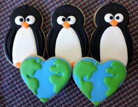 Oven Lovin': World Penguin Day Cookies Love the Heart-shaped Earth Cookie!