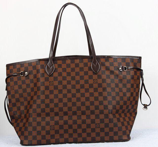 Сумка Louis Vuitton (луи витон) Neverfull кожа и фирменный материал LV Damier Ebene Canvas в коричневую клетку 40x30x20cm #18595