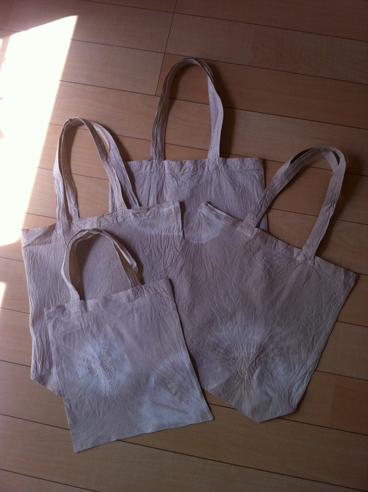 eco-bags dyed w/ tea and coffee