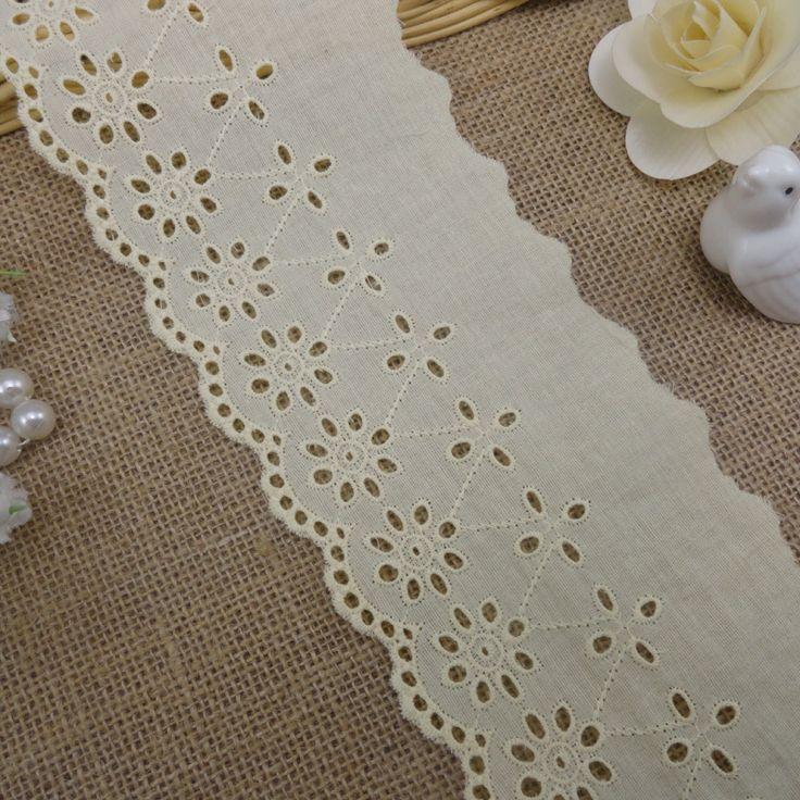 (10 ярдов/серия) 100% хлопок ткань вышитые белые кружева обрезки ткани высокого качества 8.5 см широкий бесплатная доставка