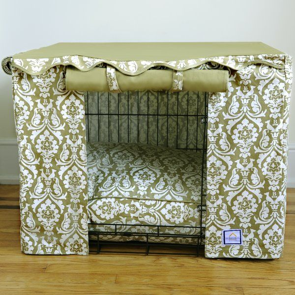Sleep like a princess in our signature printed damask dog crate cover. It has two panels which can be rolled open with hook and loop fastener loops for easy access or rolled down for nap time.