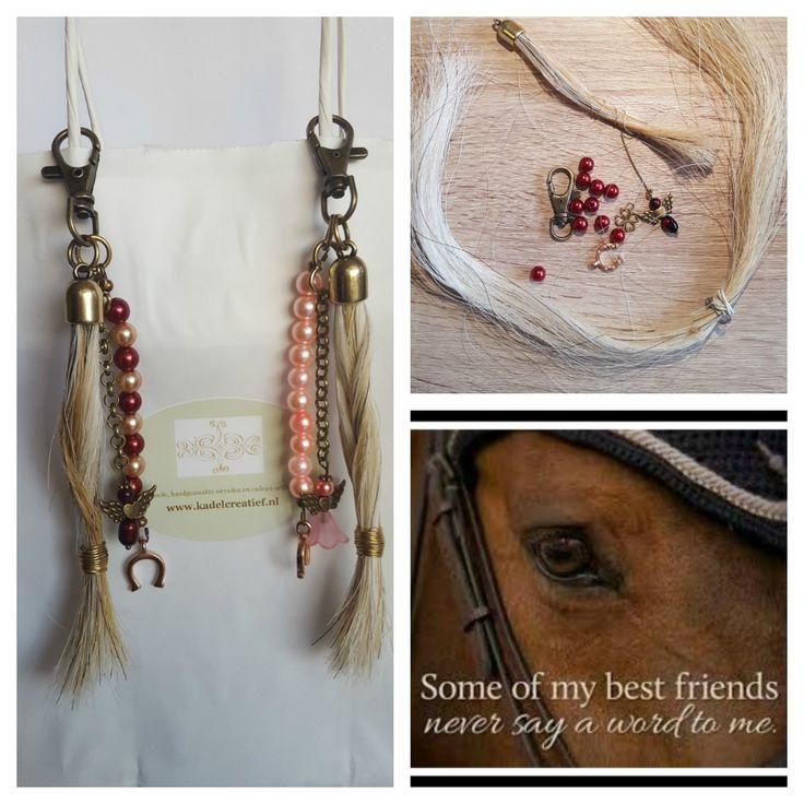 mooie tashangers, gemaakt van het paardenhaar van het paard Kirsten. Een mooi en persoonlijk sieraad! meer info op www.kadelcreatief.nl onder maatwerk #paardenhaar #sieraden