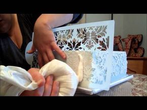 Damask Stenciling in Buttercream Tutorial. Get the Damask look on a cake with 100% buttercream! cakesbyteresa.blogspot.com These stencils can be founds at global sugar art.com or stencils for wall paint.