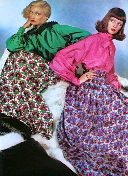 Models wearing dresses by Philippe Venet, Vogue Paris, September 1975