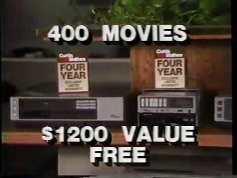 Curtis Mathes - 400 Free Movies! (1985) Curtis Mathes is at it again! 400 free movies... Turns out it was rentals, but who cares! 400 rentals would play mighty fine on the equipment you'd get! Also, who's this guy? Is that literally Curtis Mathes? Can somebody get back to me?
