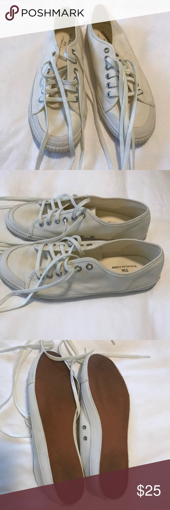 J.Crew Tretorn Canvas Sneakers Classic lace up sneakers by J.Crew & Tretorn. An iconic Swedish brand with the first luxury sport shoe worn on (and off) tennis courts around the world.   in Ivory Lightweight canvas shoe, inspired by a vintage sneaker from the 1950s. Cotton Canvas Upper. Two sets of laces.  Style #471844 10 US Women's size 9.5 - true to size.  Worn once, in perfect condition. J. Crew Shoes Sneakers
