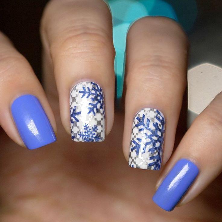 piCture pOlish 'Swagger, Midnite Meteor + Bright White' stamped snowflake nails by LakkomLakkom LOVE thanks Edina! www.picturepolish.com.au