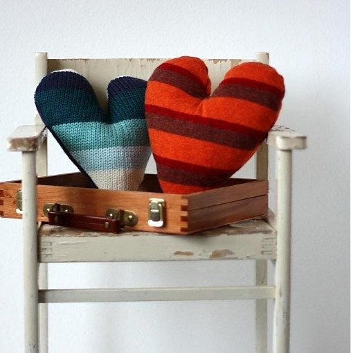 Blue and rusty - Heart Pillow decorations made from recycled sweaters