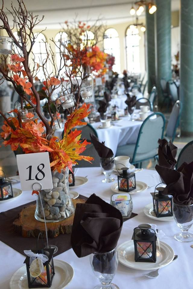 Our centerpieces for rustic fall themed wedding