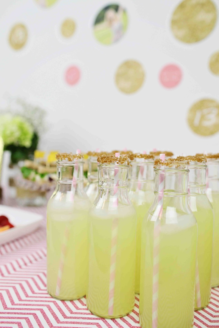 Glam Graduation Party Ideas - lemonade drinks to carry through with the gold and pink theme