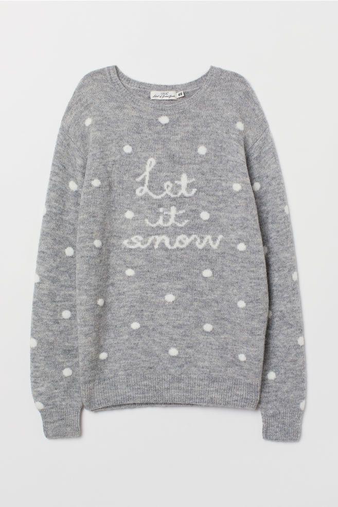 Fine-knit jumper - Grey marl Let It Snow - Ladies  bcc1af434