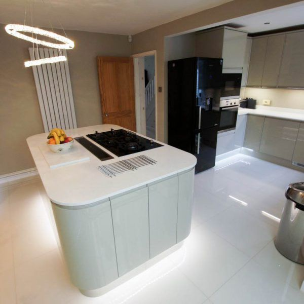 This is the Bianco Marmo Suprema. It is a white subtle marble effect style quartz.