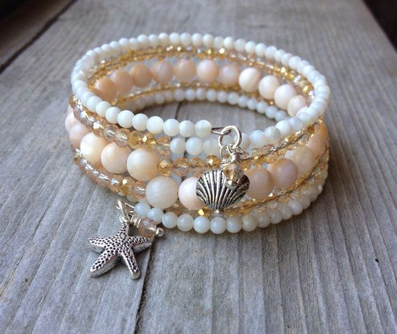 Sandy Beaches Multi Strand Memory Wire Wrap Bracelet on ETSY. Beach inspired...
