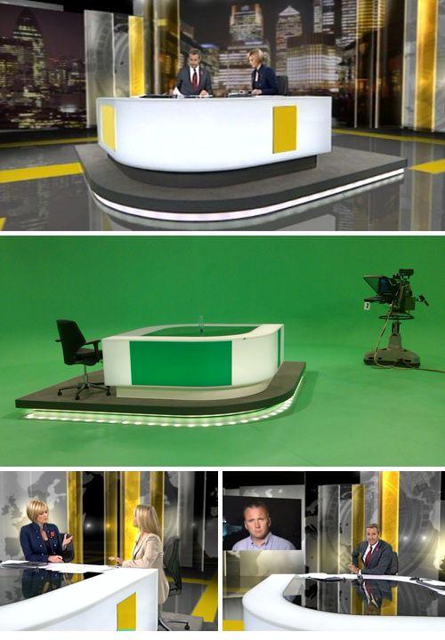 Set virtual de los informativos de la cadena de televisión británica ITV. Todo el plató es generado utilizando chroma.