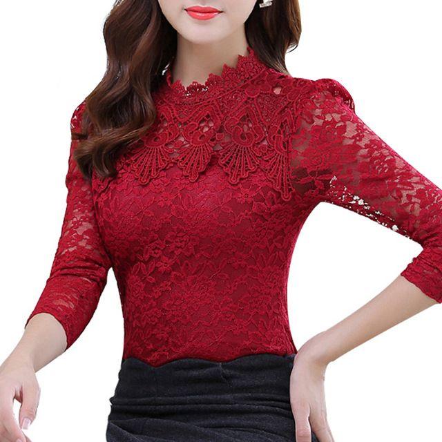 2017 Primavera Verão Mulheres Tops Moda Blusa de Renda Manga Longa Corpo magro Floral Camisa Elegante Plus Size Lace Top blusas femininas