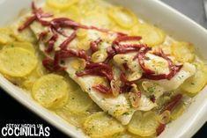 Cómo hacer bacalao al horno con patatas y pimientos del piquillo. Receta fácil paso a paso. Un delicioso plato que se hace en 3 etapas muy sencillas.