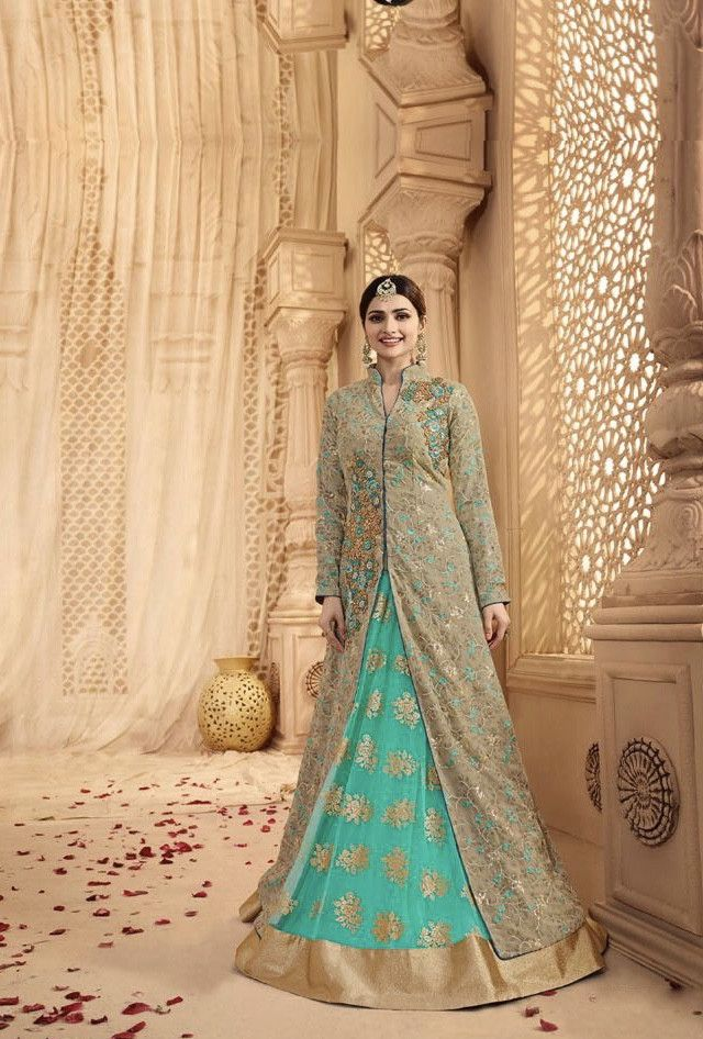 Turquoise and beige designer party wear lehengha