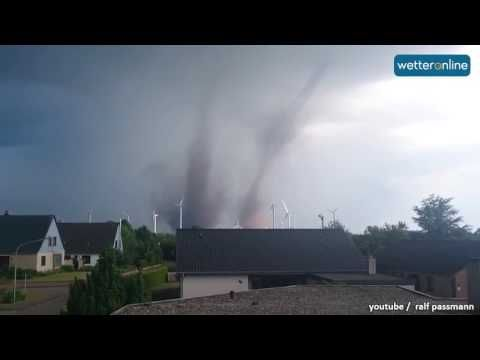 Double-Tornado in Schleswig-Holstein (06.06.2016) - Incredible footage of twin tornados featuring birth, unusually close proximity, and even footage of them from a plane!!  I think that may be the first time twins have been observed from the air.