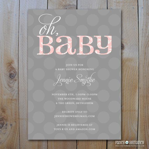 Oh BaBy Pink and Grey Baby Shower Invitation by FancyShmancyNotes, $15.00