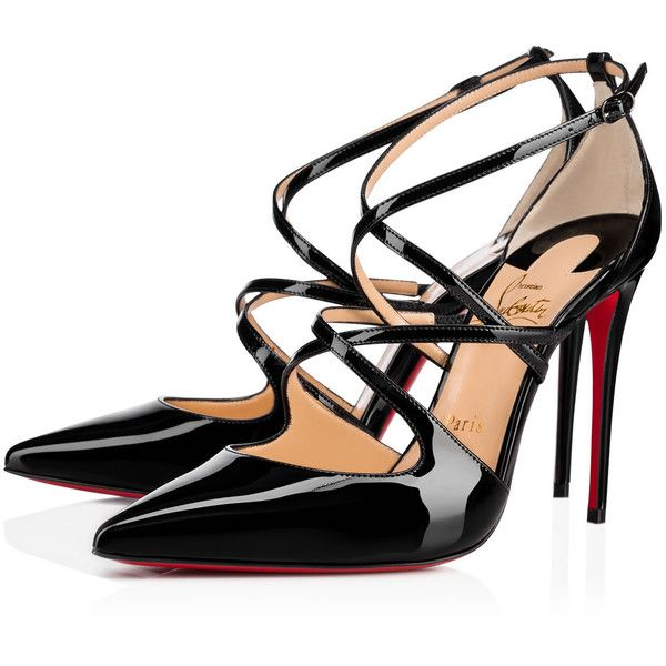 CROSSFLIKETA 100 BLACK Patent - Women Shoes - Christian Louboutin ($985) ❤ liked on Polyvore featuring shoes, pumps, kohl shoes, patent leather pumps, christian louboutin, black shoes and black pumps