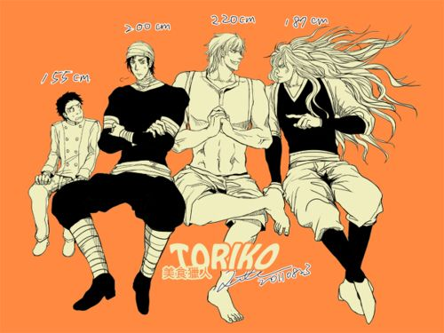 The height difference to Komatsu and the rest... (Krillin with hair)