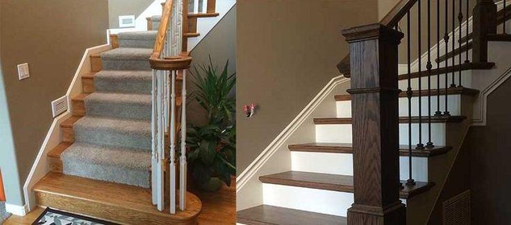 rénovation escalier d'intérieur tournant- photos avant-après