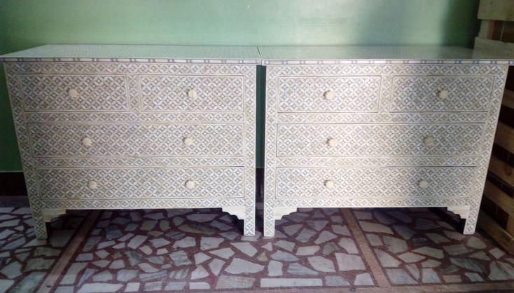 bone inlay chest of 4 drawers geometric pattern